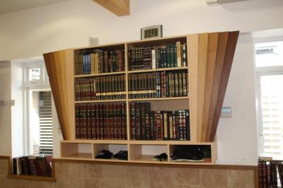 Diamond Shaped Bookshelves in Synagogue