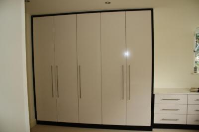 High Gloss Doors with Dark walnut Frame